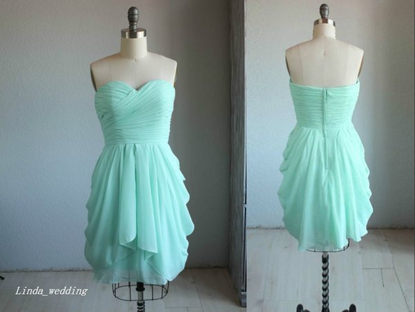 Mint Blue Short Bridesmaid Dress Simple Sweetheart Chiffon Maid of Honor Dress For Wedding Party Gown