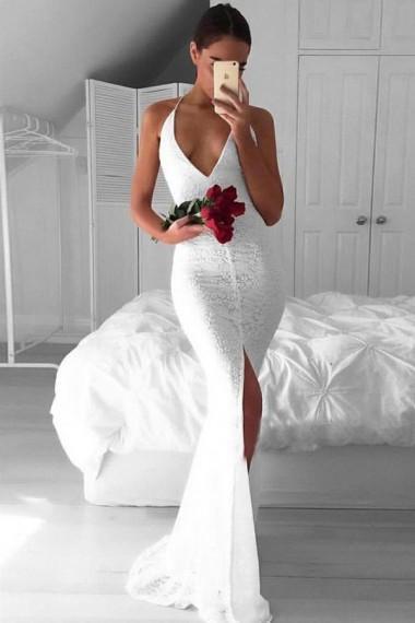 New Design Simple Full Lace Sexy Backless 2019 Mermaid Wedding Dress Spaghetti Split V neck sleeveless Criss Cross Sweep Train Wedding Gowns