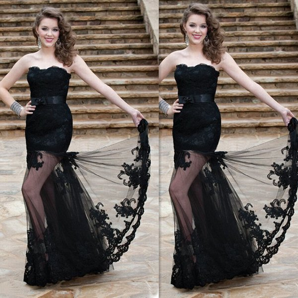 Black Prom Dresses Long 2016 Sweetheart Lace Appliques Sheath Tulle Evening Gowns With Sash Belt Girls Elegant Party Dress
