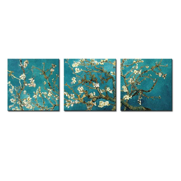 3 Pieces Canvas Painting Apricot Flower Wall Art Van Gogh Works Painting with Wooden Framed For Home Decoration as Gifts