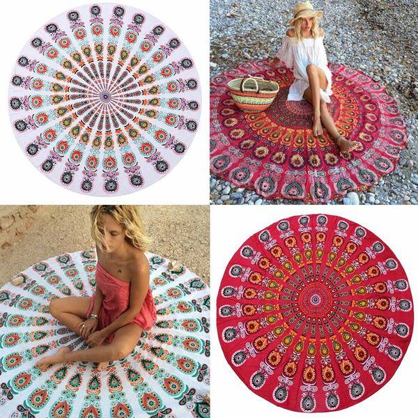 Asciugamani da spiaggia Mandala rotondi Asciugamani stampati Tovaglia Hippy Tovaglia Boho Asciugamani da spiaggia Copri tovagliette Scialle spiaggia Tappetino Yoga