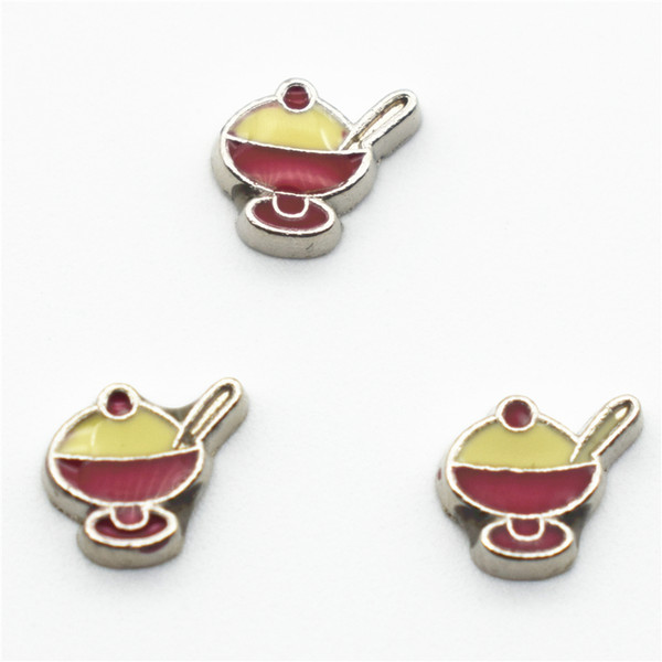 30 PCs size Floating Charm of exquisite living memory ice cream, mixed pendant design of zinc alloy jewellery