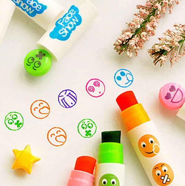 Al por mayor-novedad Cara Expresión de gran capacidad sello sólido Highlighter Fluorescente pluma marcadores regalo Papelería Escolar Papelaria