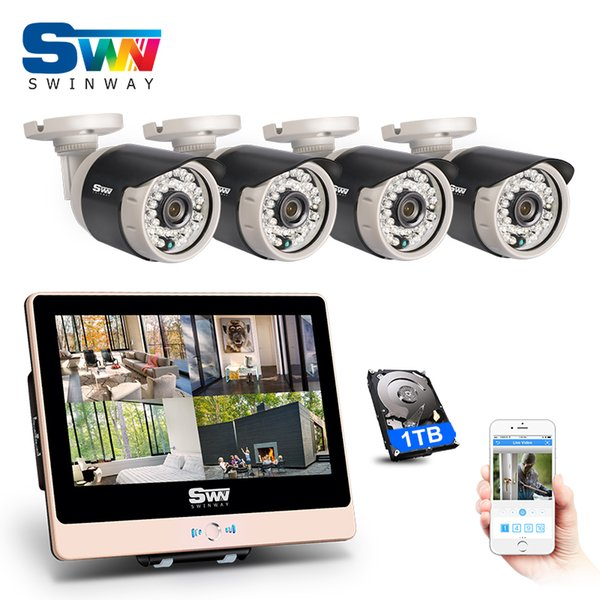 ANRAN 4CH Plug And Play 2.0 MP POE NVR CCTV Kit 12 LCD Monitor 1080P HD Outdoor Indoor 36 IR POE Security Camera System 1TB HDD