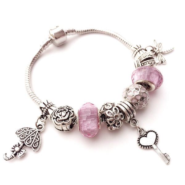 Murano Glas Perlen Charme Armbänder Armreifen Nette Schlüssel Libelle Europäischen Anhänger Perlen Fit DIY Original Armband Schmuck Geschenk