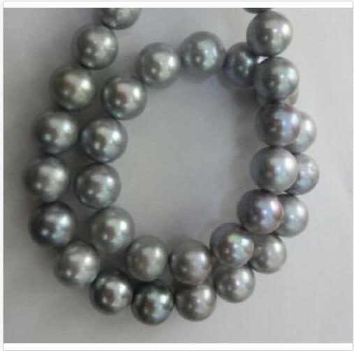 11-12MM BEAUTIFUL SOUTH SEA NATURAL GRAY PEARL NECKLACE 14KT