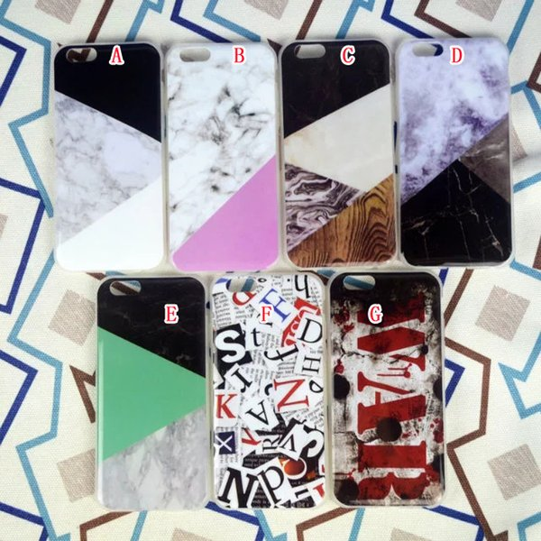 Marble Granite Rock Stone Soft TPU Case For Iphone 7 7PLUS I7 Iphone7 6 6S Plus I6 SE 5 5S Letter Silicone Gel Cell Phone Cover Skin 100pcs