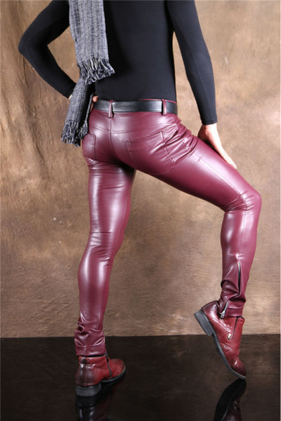 Wholesale- Sexy Men Faux Leather Pu Matte Shiny Fashion Pants Role Men Soft Skinny Gay Pants Zipper Open Pencil Pants Gay Wear F130