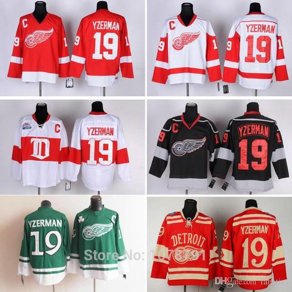 Toptan En Kaliteli # 19 Steve Yzerman Detroit Red Wings Ucuz Buz Hokeyi Formaları Tüm Dikişli Nakış LogosNames C Yama