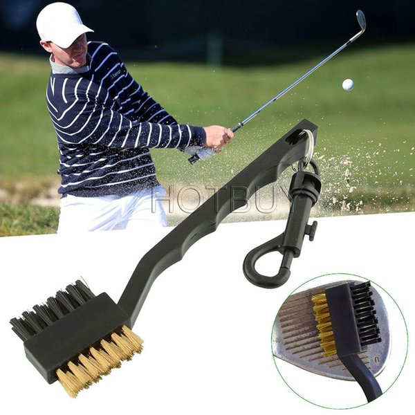 top popular Dual Bristles Golf Club Brush Cleaner Ball 2 Way Cleaning Clip Lightweight Portable Golf Training Aids Practice Equipment #4162 2019