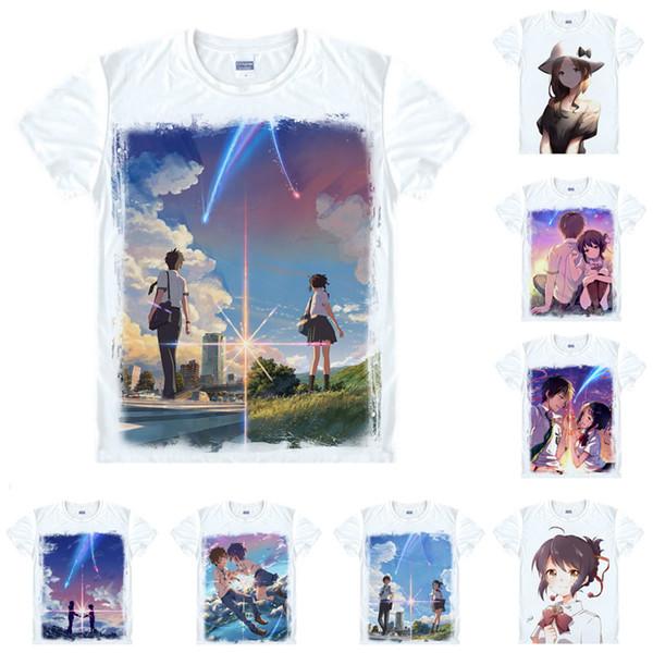Anime Shirt Your Name Kimi no Na wa T-Shirts Multi-style Short Sleeve Tachibana Taki Miyamizu Mitsuha Cosplay Motivs Hentai Shirts