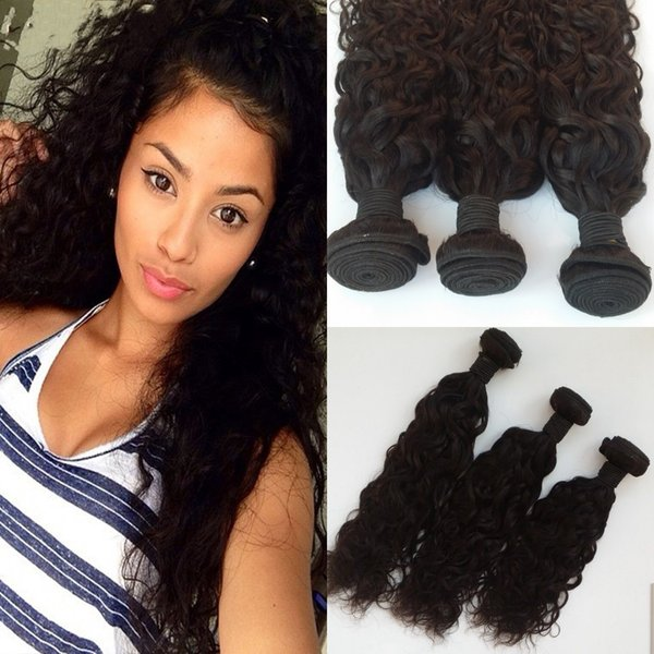 Wet And Wavy Brazilian Human Hair Bundles 3pcs Unprocessed Brazilian Water Wave Hair Weave 8-30inch Natural Black G-EASY