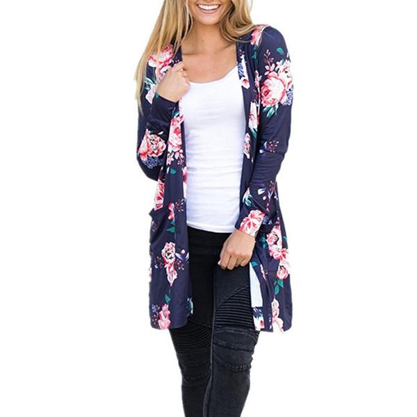 Plus Größe S-XXXL Blume Floral bedruckte Strickjacke Frauen Pullover mit Paket Langarm Fashion Casual Pullover Damen Strickwaren