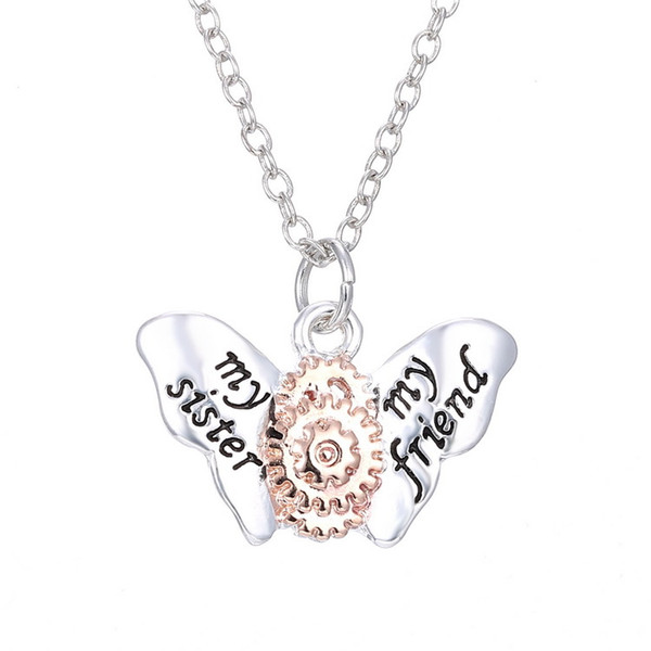 Latest Vintage Steampunk Butterfly Gear Pendant Necklace Retro Punk Jewelry Designs For Men Women Freeshipping