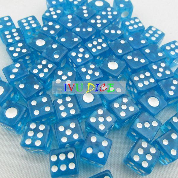 100 stücke 8 MM 6 seiten Würfel Transparent BLAU mit WEISS punkt 1-6 automatische mahjong spiel KTV party maschine würfel IVU