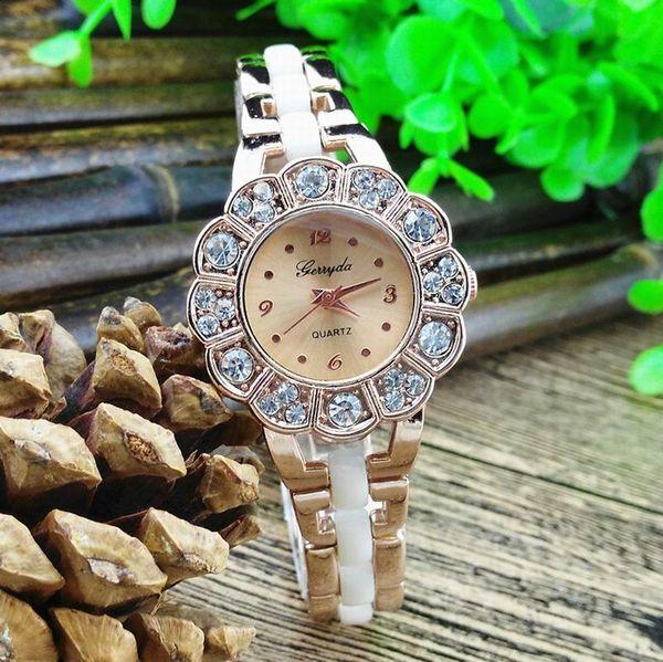 Free shipping!Copy ceramic metal band,sunflower design alloy case with crystal deco,gerryda fashion woman lady ceramic bracelet quartz watch