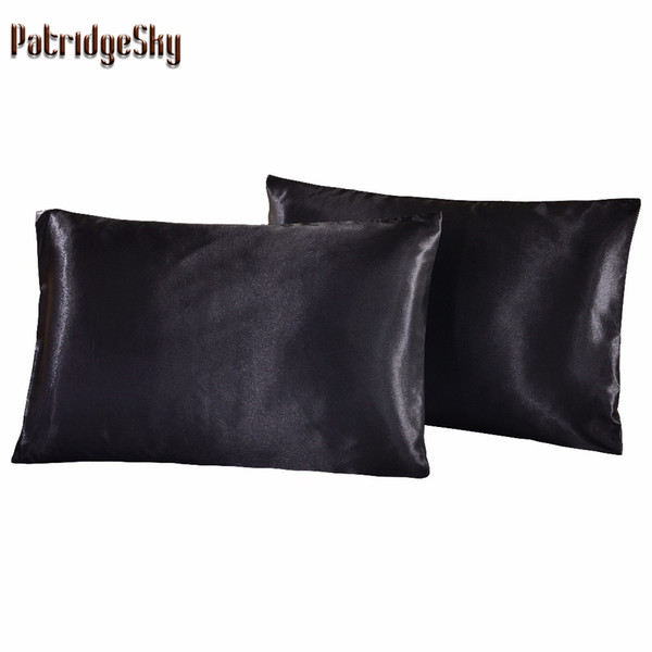 All'ingrosso-Pillow Case Russia US Size 2pcs 1pair Satin Tinta unita Fodera di seta Federe Cuscino Cuscino shams Cuscino Twin Queen Cal-King R