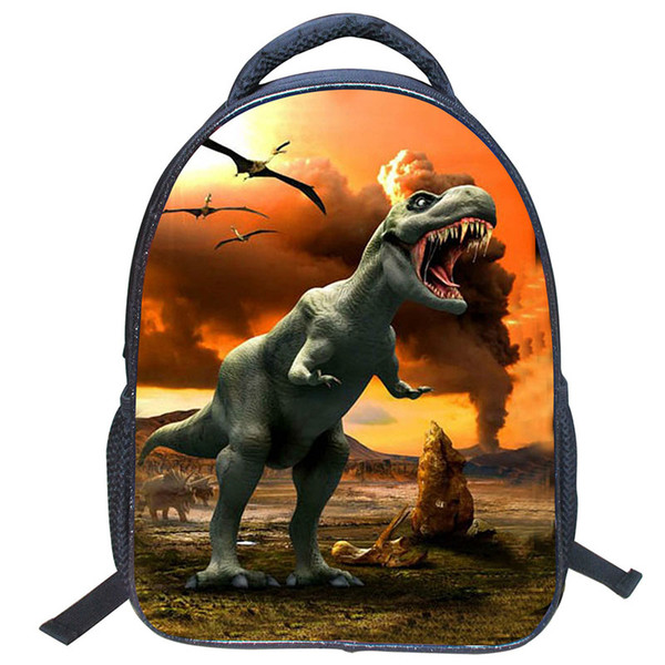 14 Inches Kindergarten Nylon Mini Schoolbag Cartoon Animals World Dinosaur Pattern Backpacks Cell Phone Slot Pocket Zipper Boys Fashion Bag