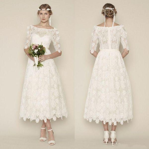 Vintage-Inspired Lace Tea Length Wedding Dress
