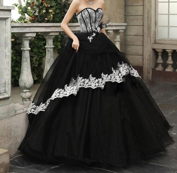 Black And White Prom Dresses Gothic Sweetheart Lace With Ball Gown ...