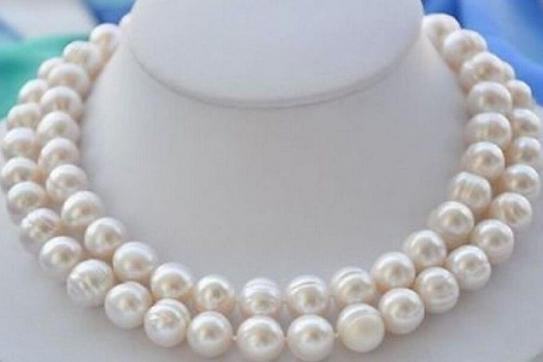 Charming 35 inch 11-13mm south sea natural white baroque pearl necklace 14k Gold clasp