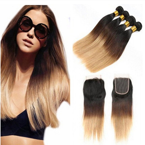 5Pcs/Lot Honey Blonde Ombre Brazilian Hair With Closure Three Tone 1B/4/27 Silk Straight Ombre Hair 4 Bundles With Lace Closure