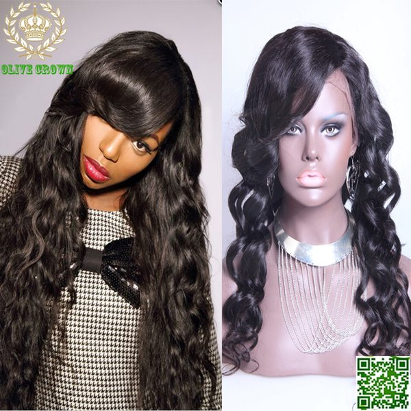 Brazilian Human Hair Lace Front Wig Loose Wave Full Lace Human Hair Wigs Wavy Hair Glueless Wig With Side Bangs For Black Woman