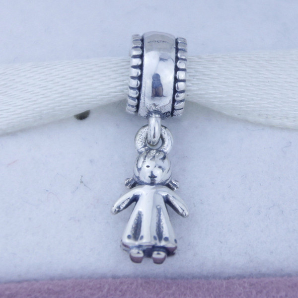 Fits for pandora Charms Bracelet 925 Silver fashion Threaded Charms Diy Jewelry wholesale Cute Beautiful girl Kids Bead Bracelet 1pc/lot