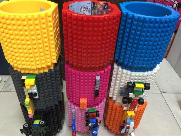 Drink Coffee Mugs Creative Build On Brick Mug DIY Bricks Cup Lego Pixelblocks Mega KREO K'NEX Compatible Block Cups Fashion 2016 E539E