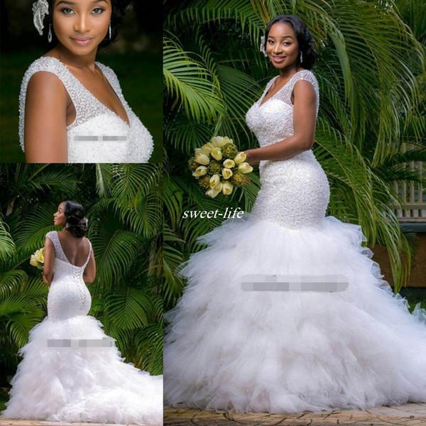 best selling Vintage Plus Size Mermaid Wedding Dresses Beading Sheer Deep V Neck Backless Corset Ruffles Tulle 2019 Garden Wedding Bridal Gowns