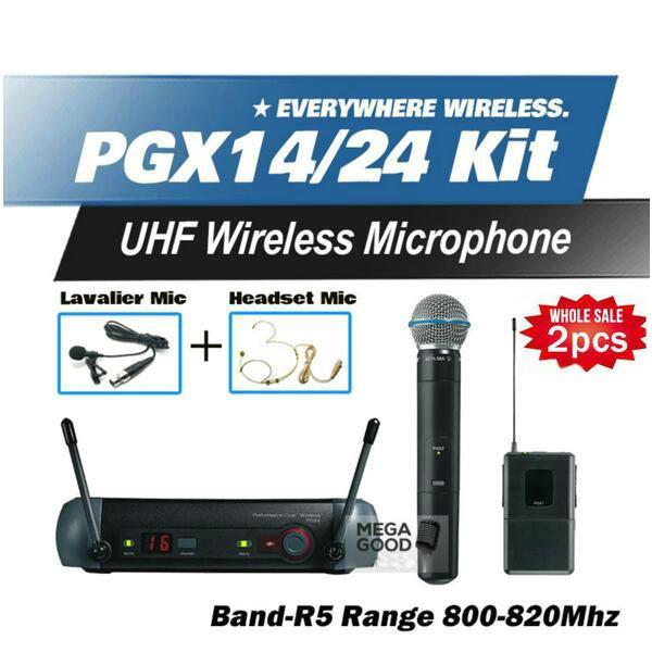 2pcs Microfono Free Shipping PGX PGX14 PGX24 BETA UHF Wireless Microphone Karaoke System With BodyPack BETA58 Handheld Transmitter Microfone