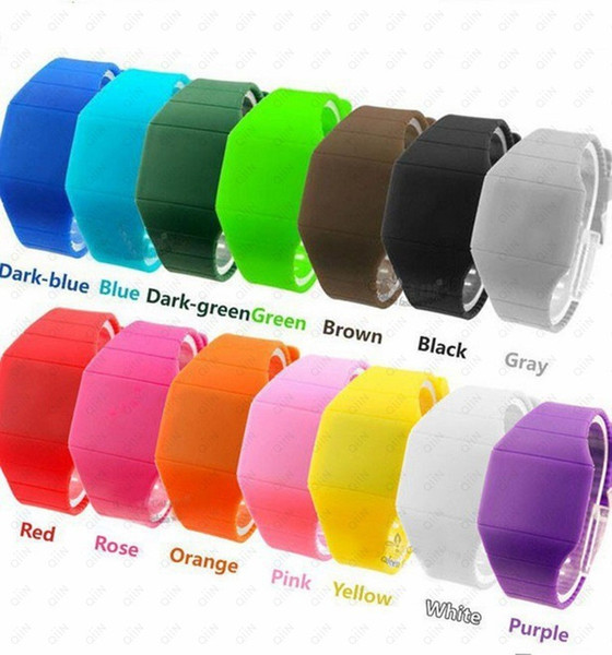 100pc lot dhl hipping pla tic rubber ultra thin touch led port watch electronic digital jelly candy men women gift watche, Slivery;brown