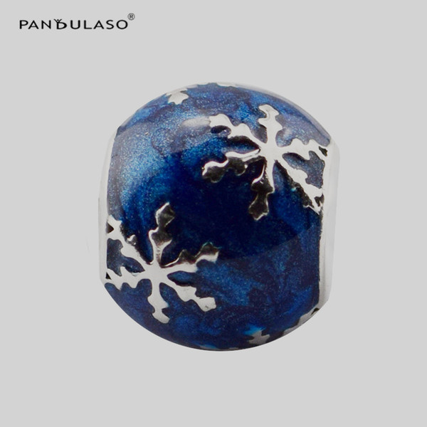 Pandulaso Wintry Delight Charm Midnight Blue Enamel Beads For Woman DIY Original Sterling Silver Jewelry Fit Pandora Charms Bracelets