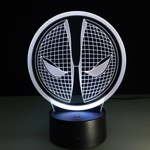 2016 Spiderman Face Style 3D Optical Illusion Lamp Night Light DC 5V USB Charging AA Battery Wholesale Dropshipping Free Shipping