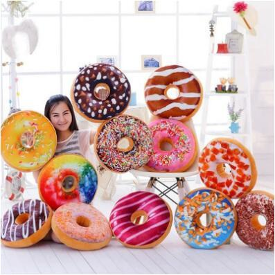 12 Styles 40cm Doughnut Pillow Shaped Ring Plush Soft Cushion Colorful Donut Pizza Cushion Decorative Pillow CCA7256 30pcs