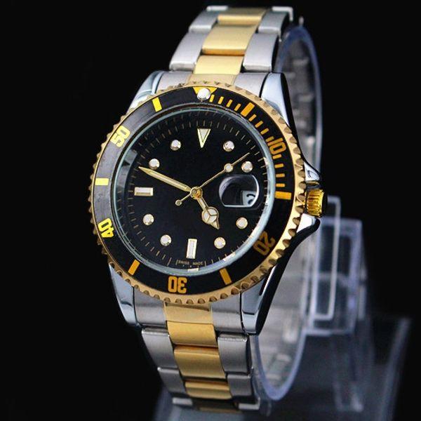2017 Famoso design de Moda Homens Grande Relógio de Ouro de aço inoxidável de Prata de Alta Qualidade Masculino relógios de Quartzo Homem relógio de Pulso relógio de negócios classil