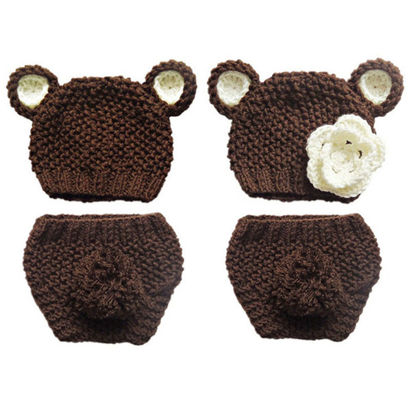 Crochet Twins Baby Teddy Bear Costume,Handmade Knit Baby Boy Girl Bear Beanie Hat with Ears,Diaper Cover Set,Infant Newborn Photo Prop