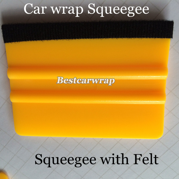 Pro Yellow Felt Squeegee Vehicle Window Vinyl Film Car Wrap Applicator Tools Scraper 100pcs/Lots Free shipping