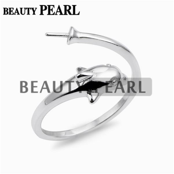 Dolphin Design Pearl Ring Mount Jewelry Findings Blanks 925 Sterling Silver for DIY Making 5 Pieces