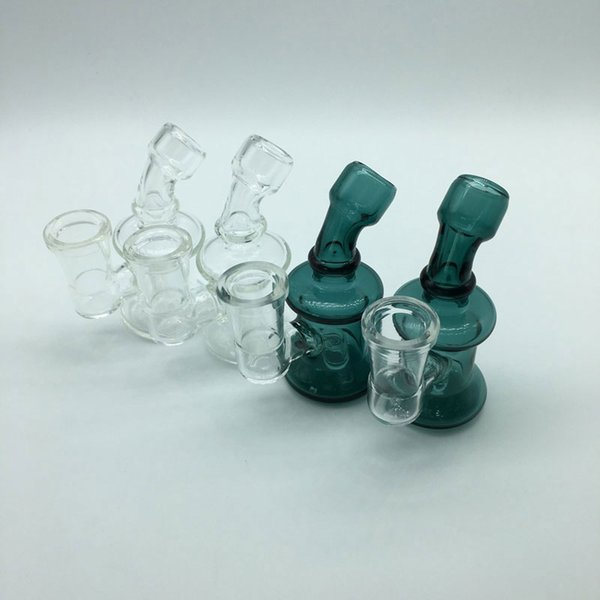 DHL Shipping!!! New Mini Glass Bongs Dab Rigs With 14mm Female Clear Green 3.3Inch Cheap Small Recycler Glass Water Pipes Oil Rigs