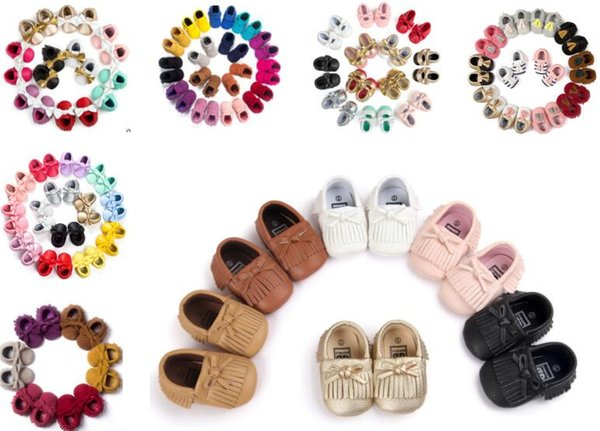 3pairs/lot(mix styles) New Styles Baby Soft PU Leather Tassel Moccasins baby Moccs Baby Booties Toddler Solid Colour Tassel Shoes Moccasin