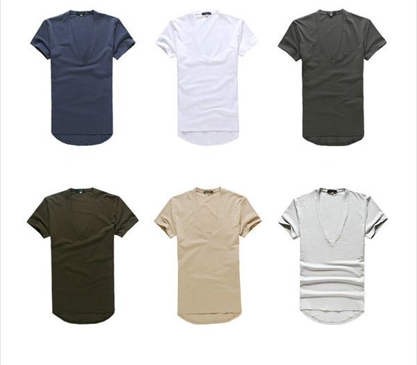 New Arrival Fashion Style Plain Mens Deep V neck Sexy Tight T Shirts 10 colors S to XXL size for men t shirts