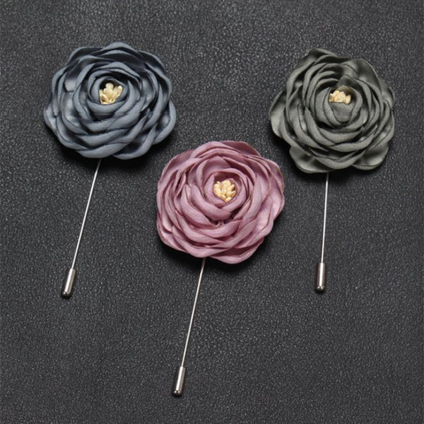 New fashion men lapel pin suit boutonniere fabric yarn pin 17colors button Stick gold women flower brooches for wedding gift Wholesale