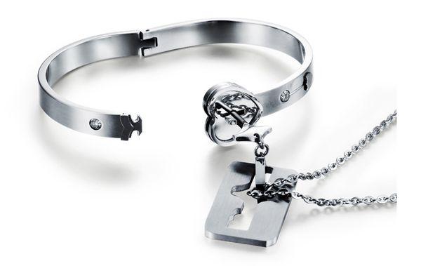 Пара Titanium Key Lock Браслет Браслет Titanium Браслет Ожерелье Набор Титана Стали Ювелирные Наборы День Святого Валентина