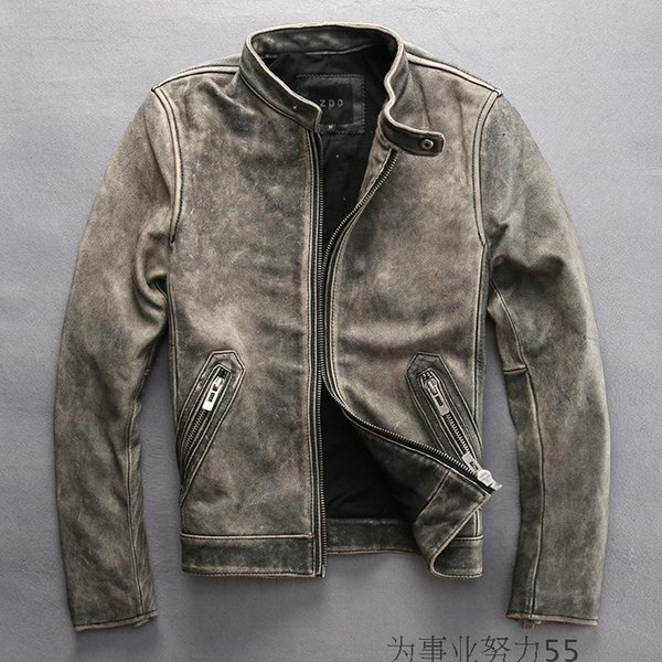 Men leather jackets sports jackets 100% genuine layer of leather jacket stand collar Vintage retro leather jacket