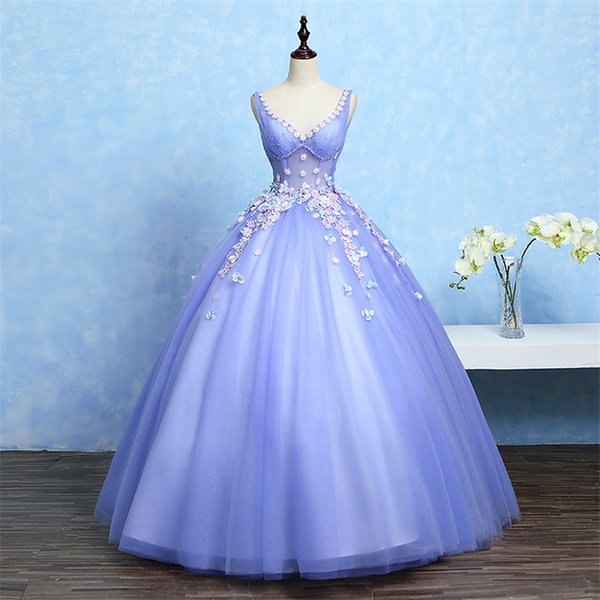 100%real blue violet flower embroidery beading ball gown medieval dress court renaissance Gown queen Victorian Belle /ball gown