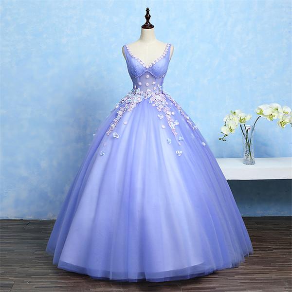 100% réel bleu violet fleur broderie perler robe de bal robe médiévale robe cour renaissance robe reine victorienne Belle / robe de bal