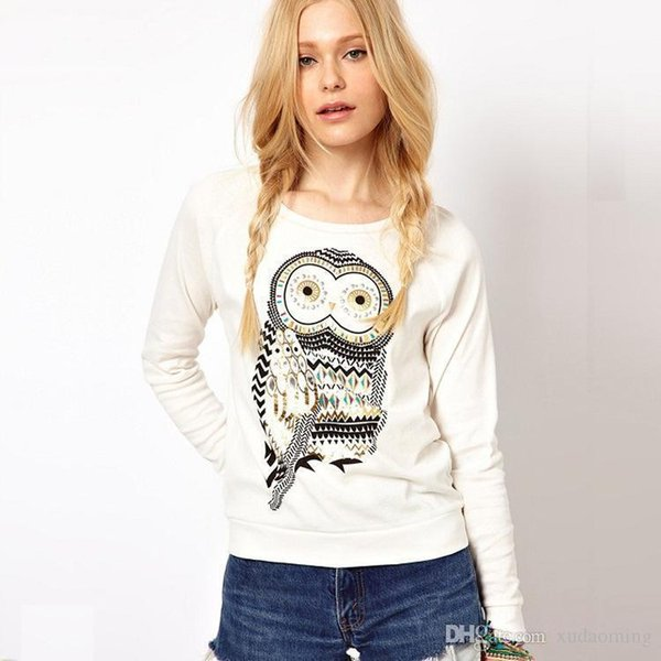 White New Autumn Cotton T-shirt Printing Stone Owl Fitting Long Sleeved Women's Sweater