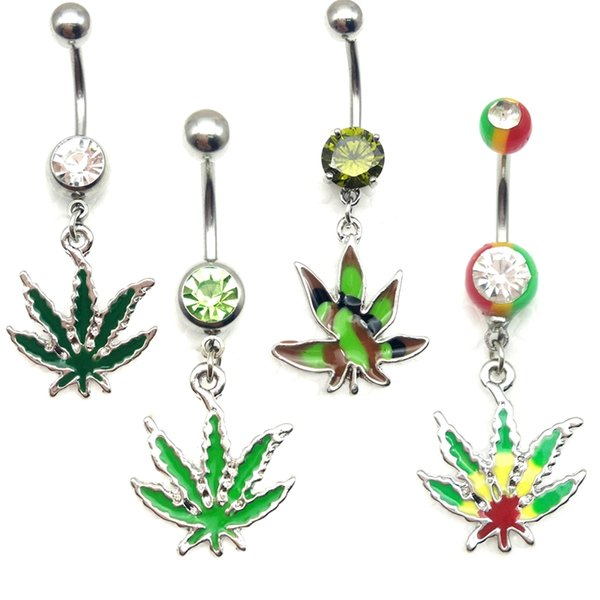 20piece Piercing dangle Jamaican Rasta Pot Leaf gem Belly button rings body jewelry 14G stainless steel wholesale navel bar Clear green