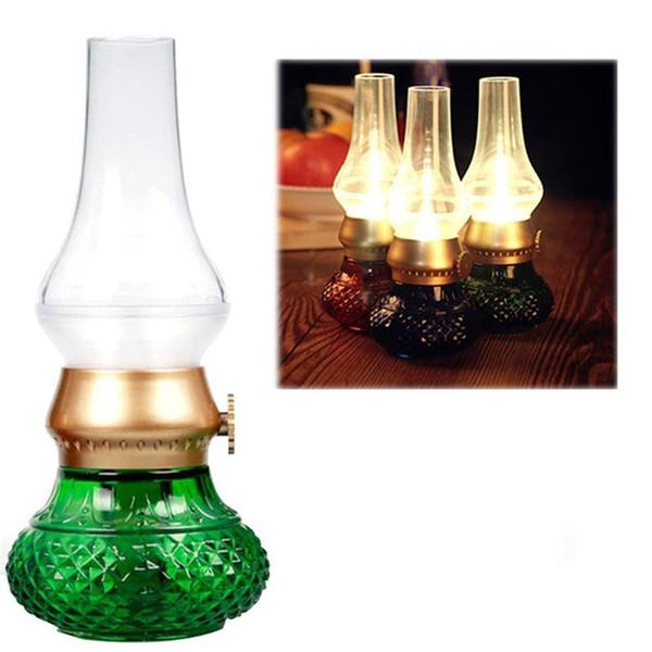 LED USB Rechargeable Blow Light Retro Classic Blowing Control Kerosene Lamp Dimmable Bedside Desk Night Light Lamp